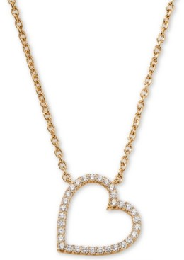 "AVA NADRI Cubic Zirconia Heart Pendant Necklace, 16"" + 1"""