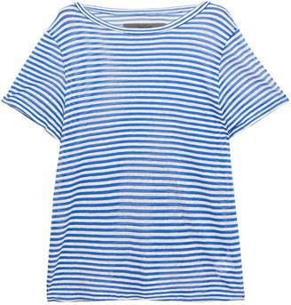 Enza Costa Striped Linen-blend T-shirt