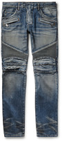 Balmain Slim-Fit Distressed Denim Biker Jeans