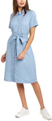 Eileen Fisher Tie-Waist Linen-Blend Shirtdress