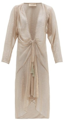 Adriana Degreas Martini Metallic Tie-front Cover Up - Womens - Gold