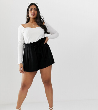 Asos DESIGN Curve shorts with paperbag waist and tie-Black
