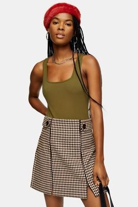 Topshop Womens Khaki Square Neck Ribbed Bodysuit - Khaki