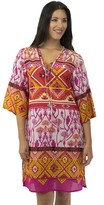 Jendi Diamond Print Trim Long Kaftan
