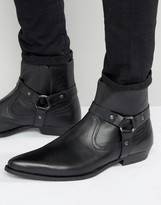 Asos Pointed Chelsea Boots In Black Leather With Strap Detail