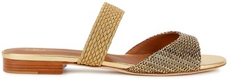 Malone Souliers Milena 10 gold leather and Lurex sandals
