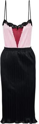 Alexander Wang Color-block Lace-trimmed Plisse Mesh Dress