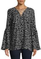 MICHAEL Michael Kors Chain Lace-Up Bell-Sleeve Top