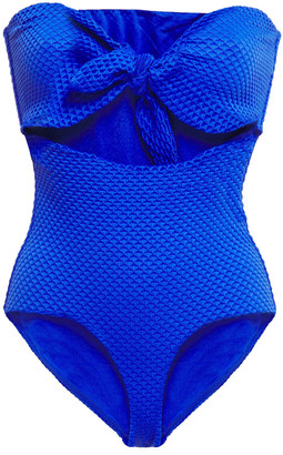 Onia Marie Knotted Cutout Textured Bandeau Swimsuit