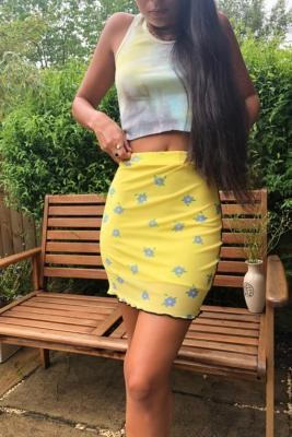 Daisy Street Contrast Seam Mini Skirt - Yellow XS at Urban Outfitters