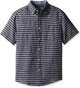 Nautica Men's Short Sleeve Vertical Stripe Button Down Linen Shirt