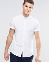 Asos Regular Fit Shirt White With Short Sleeves