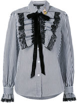 Marc Jacobs ruffle placket striped shirt - women - Cotton - 6