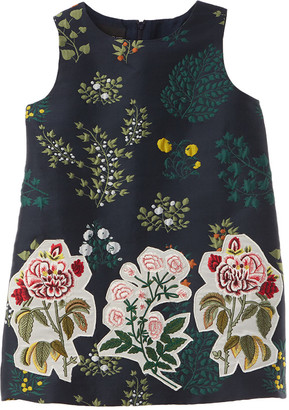 Oscar de la Renta Floral Embroidery Silk-Lined Dress