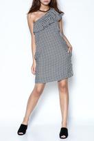Velvet Checkered One Shoulder Dress