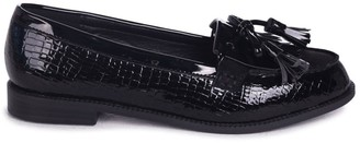 Linzi NELLE - Black Croc Patent Suede Classic Patent Loafer with Bow Fringing
