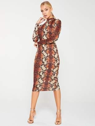 AX Paris Snake Print Midi Dress - Rust