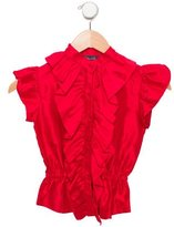 Oscar de la Renta Girls' Ruffle-Trimmed Silk Top
