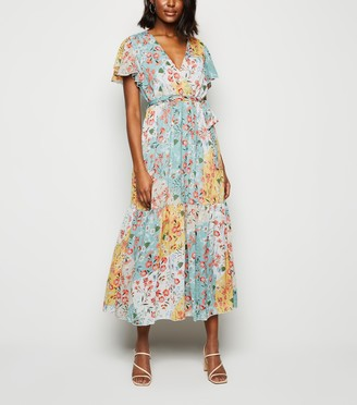 New Look Blue Vanilla Floral Midi Wrap Dress