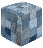 "Surya Navy Jean Patchwork Cube Pouf 16""x16""18"""