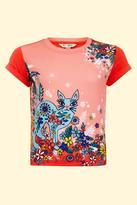 Yumi Girl Moroccan Cat T-Shirt Coral