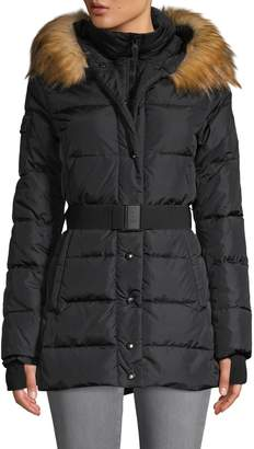 S13 S 13/Nyc Karlie Faux Fur-Trim Belted Down Jacket