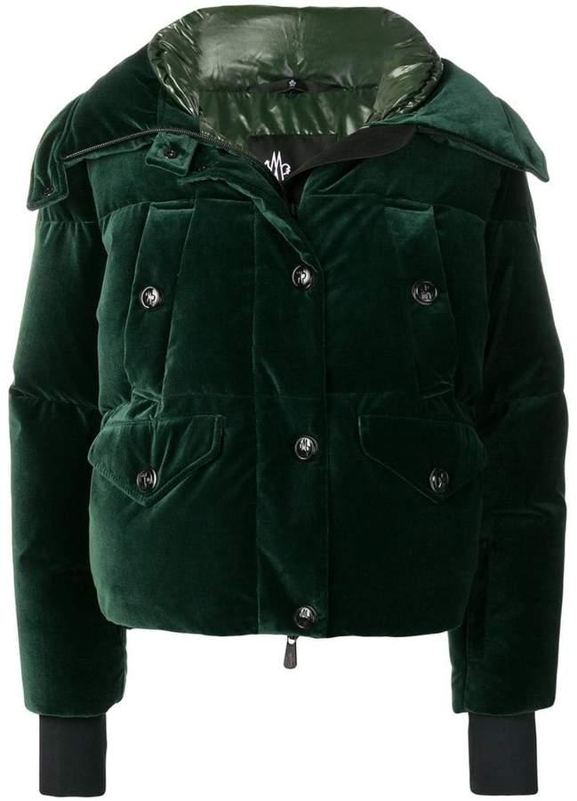 Moncler velvet effect puffer jacket