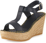 Andre Assous Lemon Leather Wedge Sandal, Navy