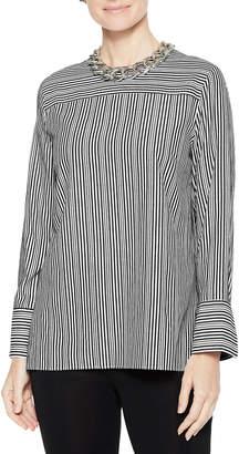 Misook Cross Stripe Long-Sleeve Blouse