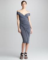 Donna Karan Off-The-Shoulder Jersey Dress