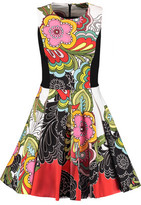 Alice + Olivia Annalyn Pleated Printed Stretch-Cotton Jersey Mini Dress