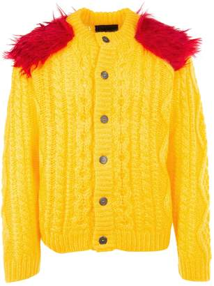 Prada Feather Detail Cable Knit Cardigan