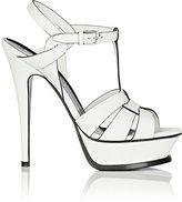 Saint Laurent Women's Tribute Leather Platform Sandals-WHITE, BLACK