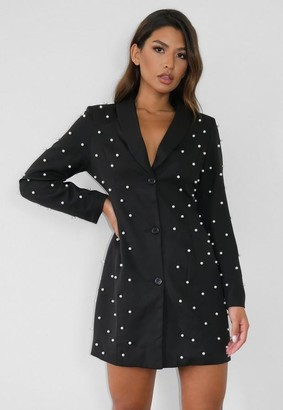 Missguided Black Pearl Fitted Blazer Dress