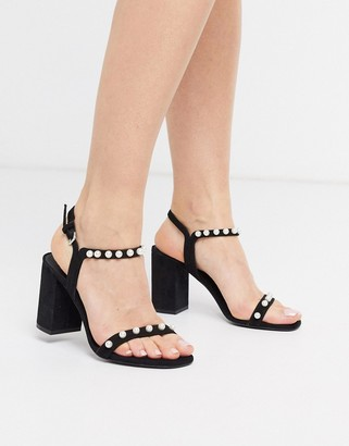 And other stories & pearl detail heeled sandals in black