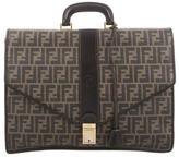Fendi Zucca Leather-Trimmed Briefcase