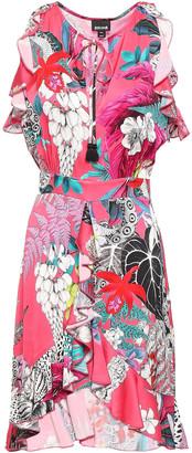 Just Cavalli Ruffled Printed Satin Mini Dress