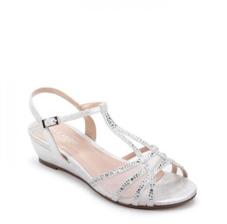 Paradox London Glitter 'Jilly' Extra Wide Fit Low Wedge Sandal