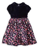 Oscar de la Renta Girl's Watercolor-Poppies Velvet & Silk Dress