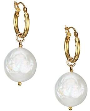 Chan Luu 18K Goldplated & 13MM-15MM Baroque Dark Champagne Pearl Drop Earrings