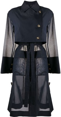 Eudon Choi Flap-Pocket Belted Organza Trench Coat