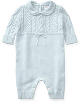 Ralph Lauren Cable-Knit Cotton Coverall, Blue, Size 3-9 Months