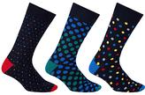 John Lewis Multi Spot Socks, Pack Of 3, Multi
