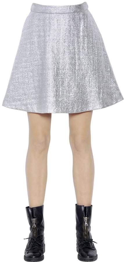 Markus Lupfer Metallic Foiled Tweed Skirt