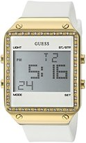 GUESS Women's U0700L1 Gold-Tone Multi-Function Digital Watch on White Silicone Strap