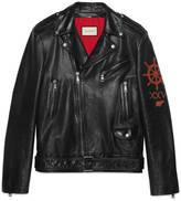 Gucci Leather biker jacket with sea creature appliqué