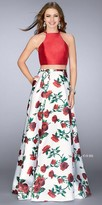 La Femme Two Piece Rose Print Strappy Back Prom Dress