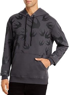 McQ Swallow Print Hooded Sweatshirt