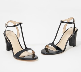 Marc Fisher Patent T-Strap Heeled Sandals - Toria