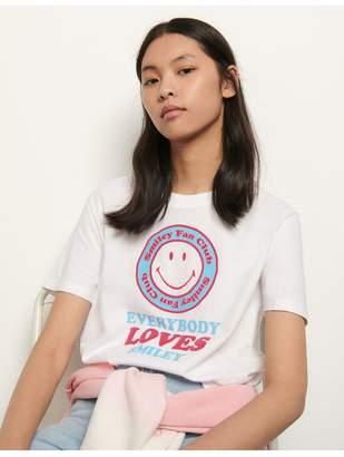Sandro Organic Cotton T-Shirt With Motifs